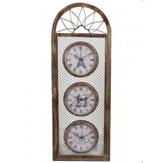 Reloj 3 esferas marrón