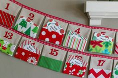 Christmas Advent Calendar Fabric Pocket Bunting in by LooDeLoop Christmas Bunting, Christmas Sewing, Christmas Fabric, Christmas Crafts For Kids, Christmas Decorations To Make, Christmas Projects, Christmas Holidays, Merry Christmas, Advent Calenders