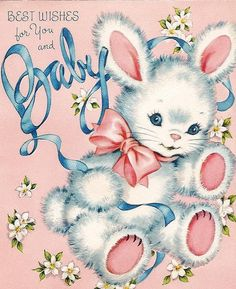 Shop Pink and Blue Bunny Rabbit Baby Shower Statuette created by The_Vintage_Boutique. Vintage Greeting Cards, Vintage Postcards, Vintage Images, Vintage Prints, Vintage Toys, Baby Illustration, Old Cards, Rabbit Baby, Blue Bunny