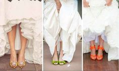 Slip on a vibrant pair of heels. | 35 Incredibly Creative Ways To Add Color To Your Wedding