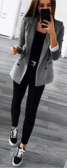 Sneakers, skinnies and grey blazer
