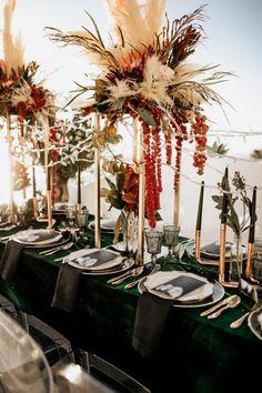 modern velvet tablescape - Wedding dinner Marrakesh weddings for the wanderlust couple. Wedding Top Table, Wedding Dinner, Wedding Ties, Boho Wedding, Floral Wedding, Wedding Flowers, Santorini Wedding, Greece Wedding, Wedding Centerpieces