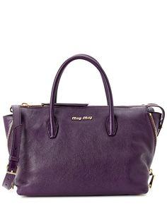 Miu Miu Madras Leather Side-Zip Satchel Purple