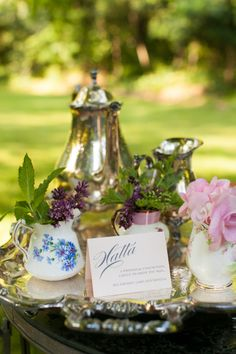 Tea setting for an outdoor wedding