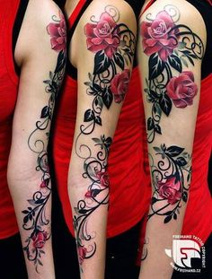 How much does a arm tattoo hurt? We have arm tattoo ideas, designs, pain placement, and we have costs and prices of the tattoo. Tattoo Pink, Lace Tattoo, Tattoo Arm, Lower Leg Tattoo, Ivy Tattoo, Rosa Tattoos, Flower Tattoos, Rose Vine Tattoos, Butterfly Tattoos