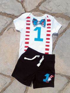 Dr Seuss Birthday Bow Tie and Suspender Bodysuit por shopantsypants, $38,00