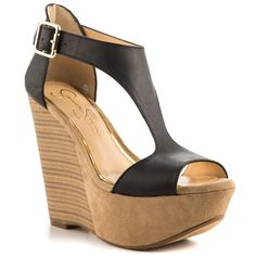Jessica Simpson - Kalachee  Price: $90  The Kalachee is perfect for any day or night event. The 5 inch stacked wedge pairs with a 2 inch suede covered platform. Black leather creates a thick t-strap with adjustable ankle strap.