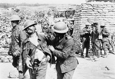 """BATTLE SOMME (Q 79508)   Sequence 43 (""""Taking papers from..."""") - 'shell-shocked' British soldier"""