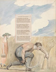 """William Blake - The Poems of Thomas Gray, Design 109, """"Elegy Written in a Country Church-Yard."""""""