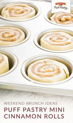 Let Pepperidge Farm® Puff Pastry Sheets add a delicious twist to your weekend brunch menu. These Puff Pastry Mini Cinnamon Rolls from Katherine, of Lily the Wandering Gypsy, are a bite-sized burst of Sweet Puff Pastry Recipes, Sweet Pastries, Sweet Recipes, Pastries Recipes, Puff Pastries, Desserts With Puff Pastry, Easy Pastry Recipes, Recipes With Puff Pastry, Best Pastry Recipe