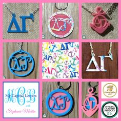 DELTA GAMMA acrylic jewelry, keychains, and more, including a new Francesca Joy DG pattern at My Capital Letters with Stephanie Martin - stephaniemartin.mycapitalletters.com