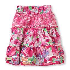 sequin mixed print skirt