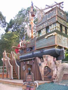 Custom Tree Houses - Custom: Gunsmoke Galleon - We packed a lot of punch into a small space with this pirate ship play structure!