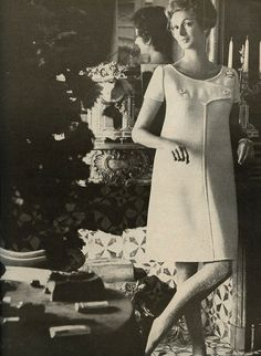 Marella Agnelli is wearing a Creation of André Courrèges and photographed by Henry Clarke for Vogue,January 1967.