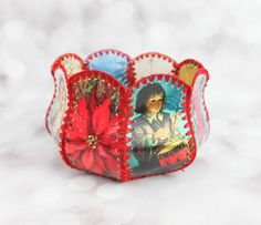 Vintage Christmas Card Crocheted Basket by KitschyChristmasJoy