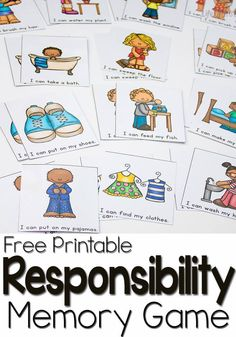 This free memory game for learning responsibility is perfect for beginning readers! Clear pictures and easy words mean they can play and learn!
