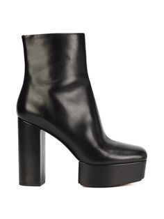 48bf551033a 90 s Chunky Heel Cyber Goth Black Leather Ankle Boot    Platform ...