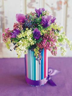 DIY Vase: Use colored pencils for a cheerful complement to flowers.