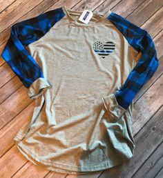 Blue Plaid Raglan Sleeve Thin Blue Line Heart Flag Shirt!