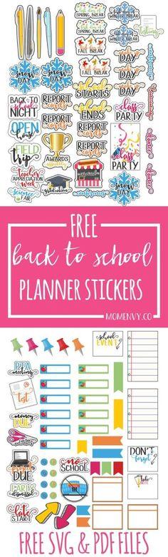 Free. Printable Back to School Planner Stickers - Perfect for Calendars, too!