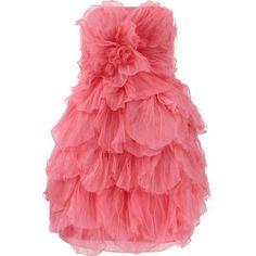 Oscar De La Renta Strapless Tulle Petal Dress (18.655 RON) ❤ liked on Polyvore featuring dresses, vestidos, gowns, pink, oscar de la renta, petal dress, american dress, strapless tulle dress, tulle dress and red tulle dress