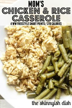 Moms Chicken and Rice Casserole is everything you loved about childhood meals lightened up for your grown-up tastes and healthy goals! Its creamy with. Rice Recipes, Side Dish Recipes, Casserole Recipes, Soup Recipes, Healthy Recipes, Seafood Recipes, Easy Chicken And Rice, Healthy Chicken, Baked Chicken