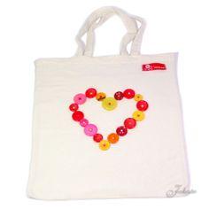 Mit Knöpfen aufgehübschte Einkaufstasche / Pimp my shopping bag / Upcycling