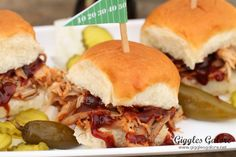 Game-Day Apple Bourbon Pork Sliders. A sweet and spicy grab-and-go snack that will make you the crowd favorite.