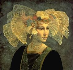 Painting of Lace Head Dress