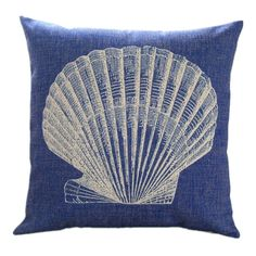 """Amazon.com - MagicPieces Cotton and Flax Seashell Collection Decorative Pillow Case Cover B 18"""" x 18"""" Square Shape-18 inches-seashell-ocean-..."""