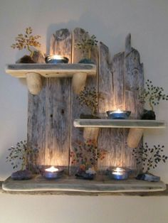 Clever idea!  Love the look of this driftwood shelf :)