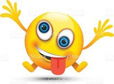 Crazy emoji character vector image on VectorStock Crazy Smiley Face, Smiley Face Images, Animated Smiley Faces, Emoji Pictures, Bff Pictures, Bff Pics, Funny Emoji, Cute Emoji, Smileys