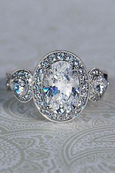 oval engagement rings halo vintage white gold