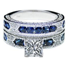 Princess Cut Diamond Vintage Engagement Ring Blue-Sapphire Accents & Matching Wedding Band. I'd do purple though.