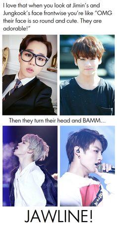 Jimin Jungkook jawline<<I'm not in the kpop fandom but these boys are frickin hot Bts Jimin, Bts Bangtan Boy, Bts Boys, Jungkook Funny, Jikook, Crush Memes, K Pop, Memes Fr, V Wings