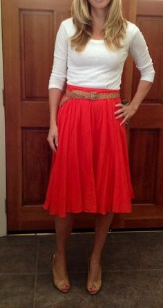Outfit Posts: outfit post: red midi skirt, white tshirt