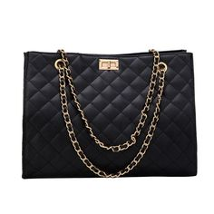 Large Shoulder Bag with quilted design. Double chain strap that can be carried also as a crossbody. Dimensions: L: Quilted Shoulder Bags, Large Shoulder Bags, Chain Shoulder Bag, Leather Shoulder Bag, Quilted Handbags, Tote Handbags, Sacs Design, Crossbody Tote, Tote Bag