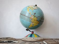 Vintage Replogle Tin Air Race Globe & World City Tags : Traveler Gift Set. $65.00, via Etsy.