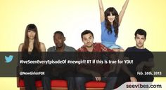 February 26th, 2013: New Girl's fans are very loyal since the beginning of the show last year, lots of retweets for this post last night in Canada - #Seevibes #TopRetweet #Twitter #NewGirl - https://twitter.com/NewGirlonFOX/status/306467680297291776