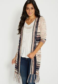 9225587a29 duster with open stitching and fringe Long Cardigan