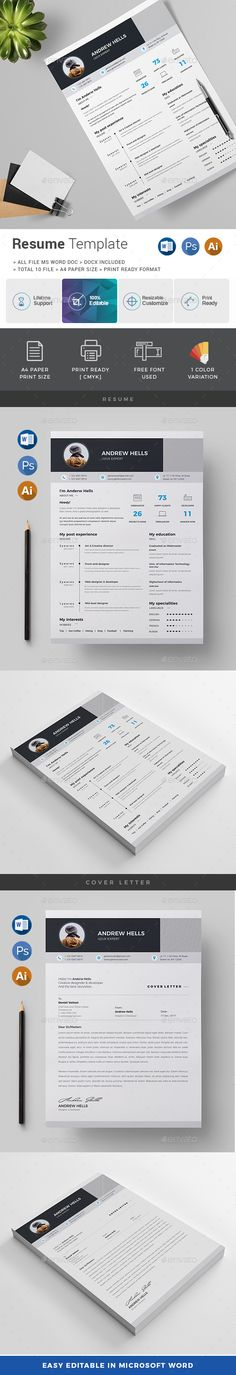 Resume / CV Template PSD, Vector EPS, AI Illustrator, MS Word