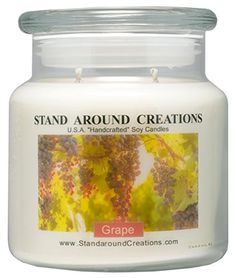 Premium 100 Soy Apothecary Candle  16 oz  Grape Fresh juicy notes of plump concord grapes * Check out this great product.