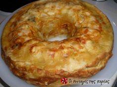 Μια πολύχρωμη πίτα,που την φτιάχνουμε στη στρογγυλή φόρμα του κέικ και δεν αφήνει κανέναν ασυγκίνητο!!! Εντυπωσιάστε τους όλους! Chef Recipes, Greek Recipes, Food Network Recipes, Cooking Recipes, Pesto Bread, Greek Pita, Greek Appetizers, The Kitchen Food Network, Savory Muffins