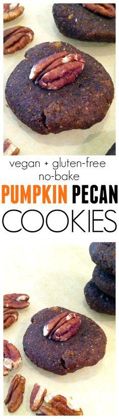 No-Bake Pumpkin Pecan Cookies...Vegan, Gluten-free, Kid-friendly, and only 100 calories! | Hummusapien