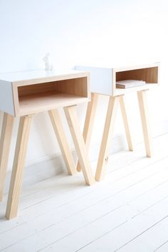 DOLLY BEDSIDES X 2  midcentury modern side table by Milkcart, $350.00