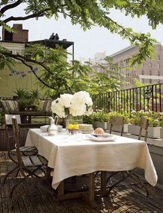 Beautiful tree branches in a small space.  Rustic Outdoor Space in New York, New York