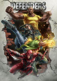 The Defenders-Daredevil, Jessica Jones, Luke Cage, Iron Fist marvel fanart Wonder Woman Costumes, Marvel Dc Comics, Marvel Vs, Marvel Universe, Defenders Comics, Charlie Cox, Daredevil Art, Netflix Daredevil, Hulk