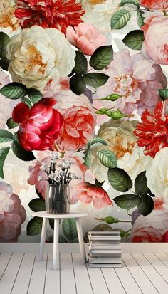 Place this gorgeous floral wallpaper by designer Uta Neumann. This tones of red peony wallpaper is bright and fresh, creating a pretty statement in any room in your home. Do you desire a romantic bedroom that oozes vintage style? Or perhaps you want to wow your guests with a whimsical and friendly welcome when they enter your home. This mural is perfect for creating the friendly and garden-inspired home you have always dreamed of! Get the look at Wallsauce.com! #floralwallpaper #livingroomdecor Red Flower Wallpaper, Wall Wallpaper, Vintage Floral Wallpapers, Red Peonies, Red Rooms, Room Accessories, Inspired Homes, Wall Ideas, Designer Wallpaper