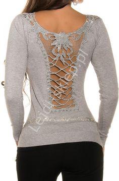 fe6bceea09fe Szary elegancki sweter z przepięknie ozdobionymi plecami