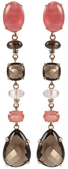 Antonini Quartz Rhodochrosite and Diamond Earrings in Red (r-gold) - Lyst